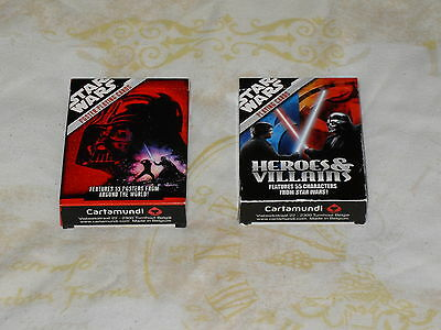 2 SETS OF STAR WARS PLAYING CARDS - HEROES & VILLAINS and FILM POSTER DESIGNS