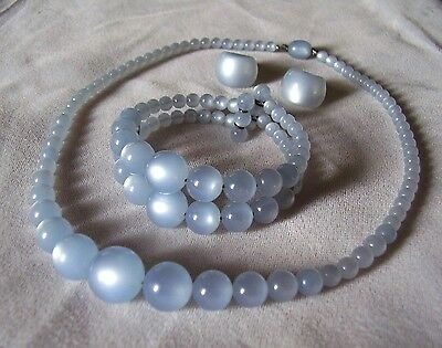 Vintage Pale Blue Moonglow Lucite Parure - Necklace Bracelet Earrings Set