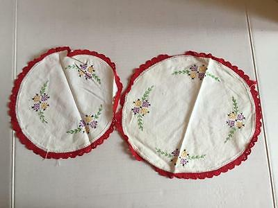 Vintage Hand Embroidered FLOWERS Chair Scarfs Dresser Doilies Floral Set of 2