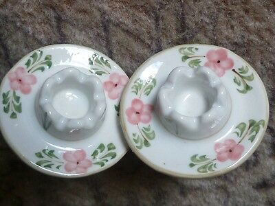 VINTAGE CHINA a Pair of CANDLE HOLDERS Hand Painted Flowers in Pinks Gold Gilded