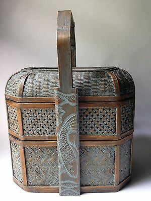 Vintage Asian Chinese Woven Rattan 2-tier Nesting Wedding Dowry Basket Fish