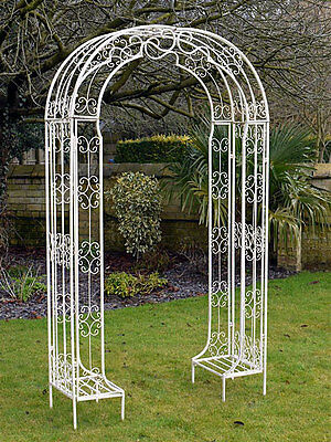 Antique White Garden Patio Plant Display Ornate Metal Outdoor Arch