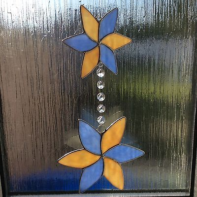 Hand Made Twin Flower Stained Glass Suncatcher