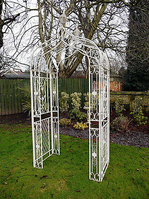 Antique Cream Garden Patio Plant Display Ornate Metal Outdoor Arch