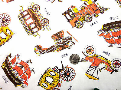 "Feedsack ""NOVELTY""  Vintage ""CARS, TRAINS & PLANES"" 100% Cotton Sewing Fabric"
