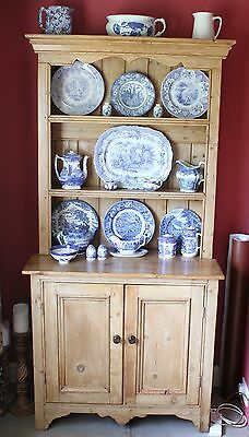 Cottage Size Victorian Pine Dresser with Cupboard on Shaped Plinth