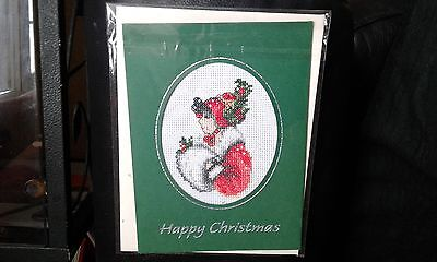 Large completed cross stitch christmas lady