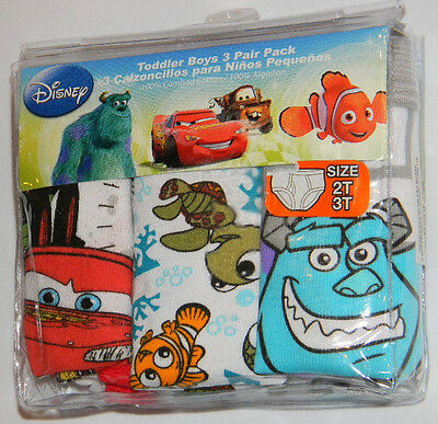 New Disney Cars Monsters Inc Nemo Toddler Boys Briefs Underwear Sz 2T 3T