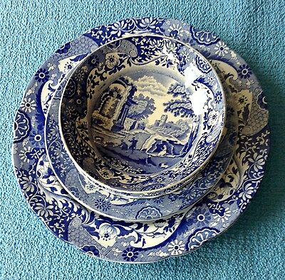Authentic Vintage Copeland Spode Blue Italian Matched Individual Set Plates X 4