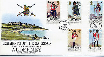 ALDERNEY - FDC - A23-27 - 'Regiments of the Garrison'
