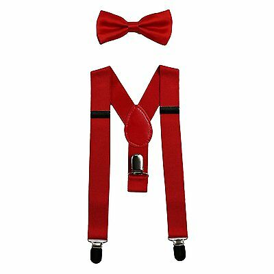 Baby Suspenders and Bow Tie Set Elastic Adjustable--Fits Baby to Toddler Red