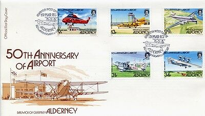 ALDERNEY - FDC - A18-22 -50th. Anniv. of Airport
