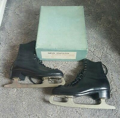 Vintage New English Ice Skates  ( Made In England ) ( Size 8.5 )