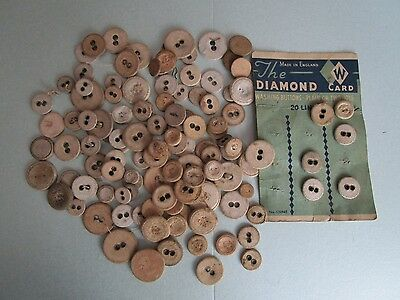 Job lot of vintage linen buttons ideal for theatre. All dusty and stained.