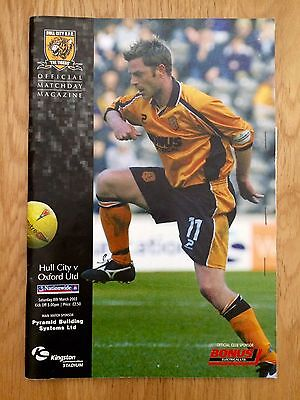 Hull vs Oxford 2003 Football Programme Signed with Match Ticket.