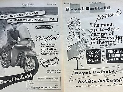 ROYAL ENFIELD CRUSADER 250 / 350 CLIPPER - 2 x ORIGINAL A4 MOTORCYCLE ADVERTS