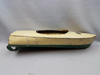 VTG 1940'S B.O.PRESSED STEEL THE STRAITS SEA HAWK SPEEDSTER TOY BOAT w Engine