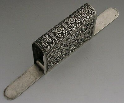LARGE INDIAN STERLING SILVER DOUBLE OPENING VESTA CASE c1880 ANTIQUE 74g