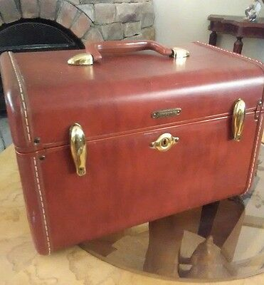 Vintage Leather Samsonite Luggage Shwayder  Train Makeup Case Cognac Brown 4612