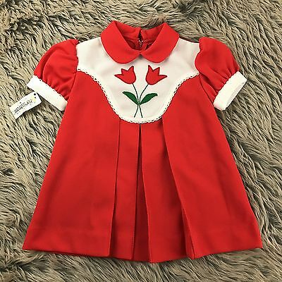 Vtg Alyssa Tulip Dress Red Pleated Peter Pan Collar Deadstock 3t 60s 70s Frock