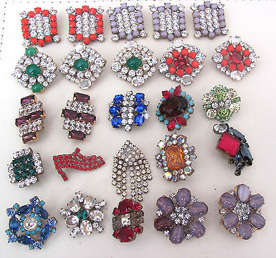 Nice GLASS Beautiful Rhinestones Buttons on - Amazing HUGE LOT C-110