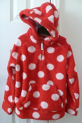 MINI BODEN Red & White Spot Fluffy Fleece Sweatshirt Hoody Top - Age 7 - 8 Years