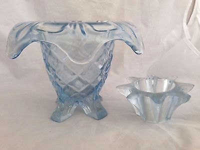 Vintage SOWERBY Blue Pressed Glass Footed Posy Vase with Frog