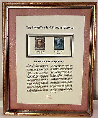 Penny Black & Two Penny Blue 1840 & 1841 Framed - Worlds most famous stamps