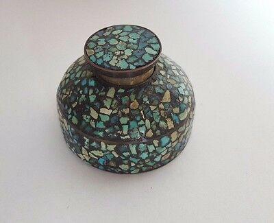Vintage BRASS MOSAIC LIDDED INK WELL - Made in India?