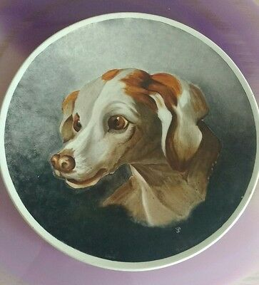 SEVRES FRANCE Antique 1883 EP Artist Signed Plaque Plate Coonhound Pointer Dog