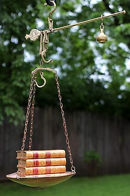 Antique Brass Hanging Scale Copper Domed Tray Balance Bar 3 Hooks Mediterranean