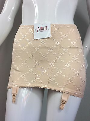 French Vintage Style Open Bottom Girdle, Silky Champagne Embroidered.