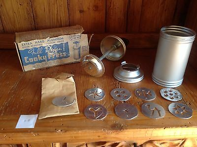 Vtg Full Recipe Cooky/cookie Press-Gun-9 Forming Plates-Aluminum