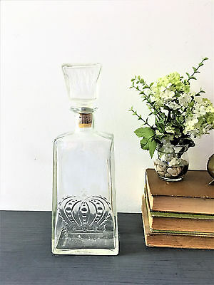 Vintage Crown Royal Embossed Decanter Liquor Bottle  w/ Stopper BARWARE CROWN