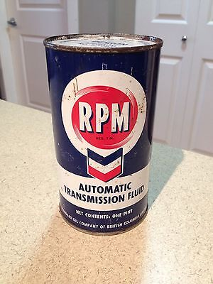 Rpm 1 Pint ATF Full Oil Can Vintage Canada Collectible Standard Oil Of BC