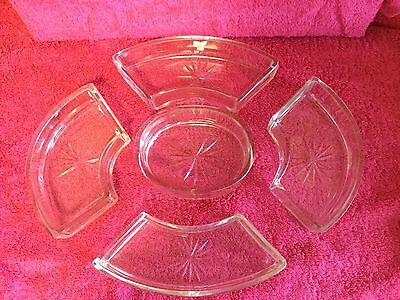 Vintage Glass Hors'd'oeuvres NibblesServing Dishes