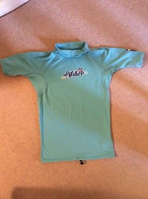 "turquoise blue alder girls rash vest age 10-11 xl 31-32"" chest"