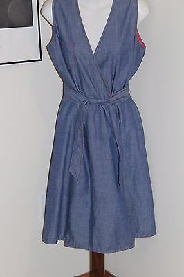Vintage Denim Wrap Dress 1960s Union Made w/ Red White Dotted Facing Sz 10 ?