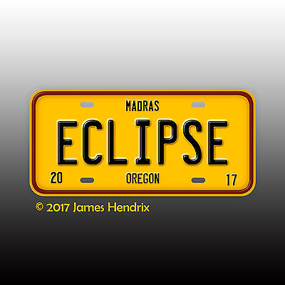 Total Solar Eclipse 2017 Madras Oregon OR Custom License Plate