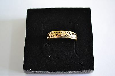 9ct Yellow Gold LOVE MOTTO Wedding Band (Size N) 4mm Thumb LOVE RING ladies
