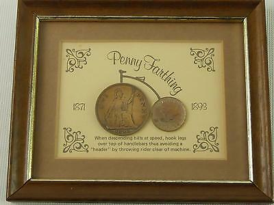 (ref240AKX) Penny Farthing  genuine 1940 penny and 1949 farthing