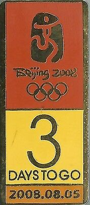 Official Beijing 2008 3 Days To Go Countdown Olympic Games Pin