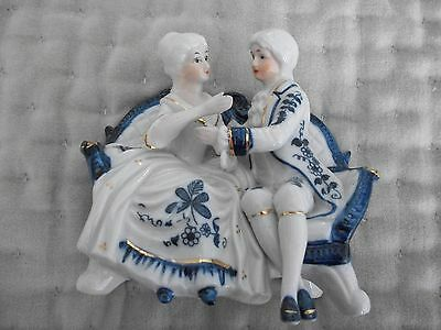 Blue and White Man and Lady Ornament