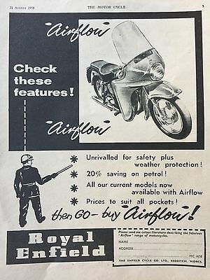 Royal Enfield Airflow Range 1958 - Original A4 Motorcycle Advert