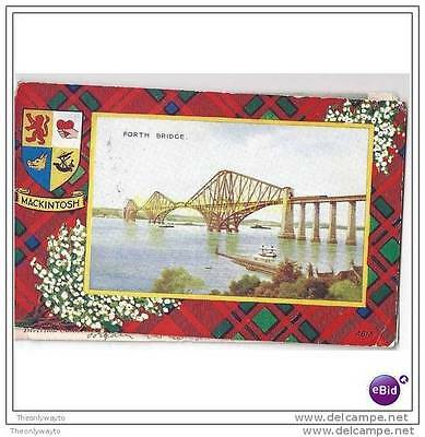 FORTH BRIDGE, MACKINTOSH TARTAN SURROUND, SCOTLAND, 1944, Postcard
