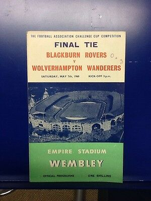 1960 FA Cup Final Programme Blackburn Rovers v Wolverhampton Wanderers