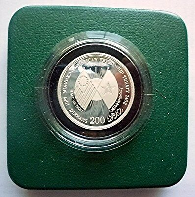 1987 Ah1408 Morocco - 200 Dirhams - 200 Yrs. Peace Treaty - Roof Silver - Rare!