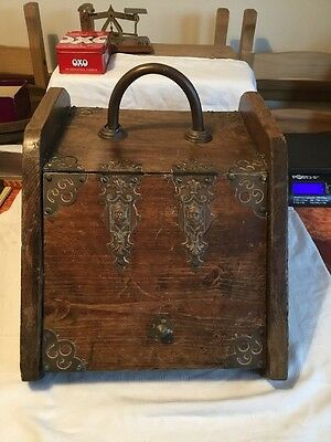 Victorian Wooden Coal Log Storage Fire Side Box With Brass / Copper Detailing