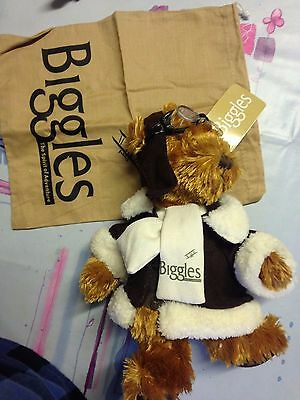 Biggles Teddy Bear - Plush - Soft toy - Aviation - New  - With Dustbag