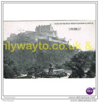 EDINBURGH CASTLE, ROSS FOUNTAIN & CASTLE, SCOTLAND, 1915, Postcard